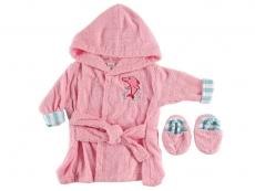 Sea Character Bath Robe & Slippers - Woven Terry (Pink)