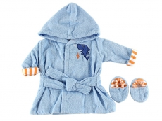Sea Character Bath Robe & Slippers - Woven Terry (Blue)