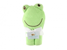Animal Face Hooded Towel with Embroidery (Frog)