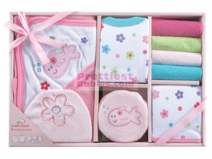 Bath Time Gift Set 9pc (Pink) - Baby Clothes | Baby Products ...