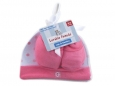 Cap & Booties Set in Mesh Bag (Pink)