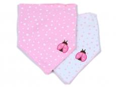 Triangle Trendy Bib 2pk (Pink & Butterfly)