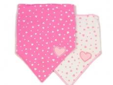 Triangle Trendy Bib 2pk (Pink & Love)