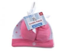 Cap & Booties Set in Mesh Bag (Pink)
